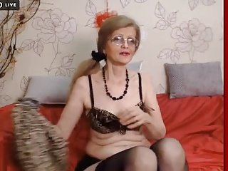 Mature teasing on webcam