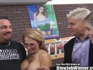 Petite Blonde Pornstar Lia Lor Blow job and Squirting on Fan