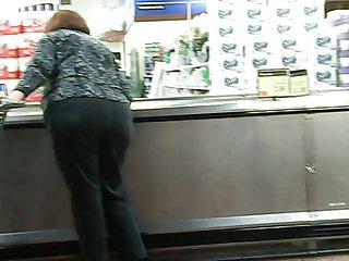 Red Head Fat Bottom Gilf in grey slacks part 2 of 2