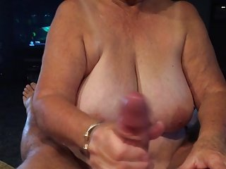 Grandma giving blow job POV