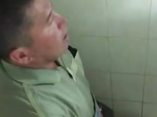 Secretly filming my dad jacking off in a public toilet