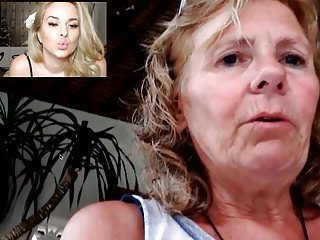 Daughter kissing her mom on cam