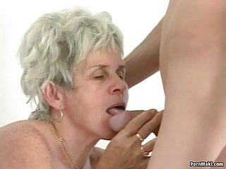 Hairy granny tastes young dick