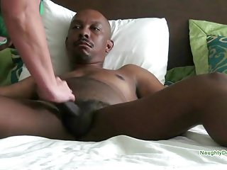 Blonde Mature mounted on a Big black dick