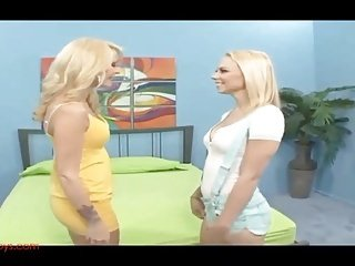 hot blond mommy fucks hot blond teeny with dildo and strapon