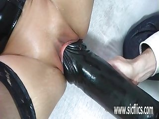 Colossal dildo fucking mature amateur hot lady