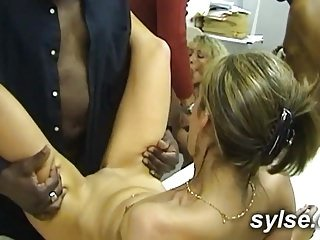 2 secretaries share Big black dick in OFFICE gangbang
