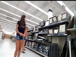 Hot Mom in plaid shorts shopping