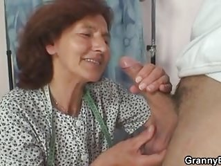 He bangs sewing old granny