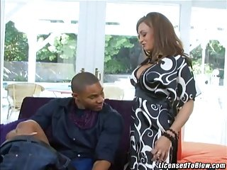 Hot mom Claudia Valentine getting a big black dick to play with