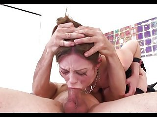 Petite Brunette AN Hands Tied Deepthroat Face Fuck