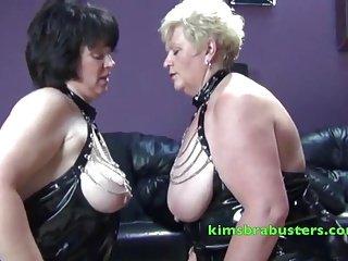 Two Mature Lesbians use Granny Kim