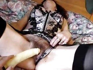 Hairy mom pleasuring