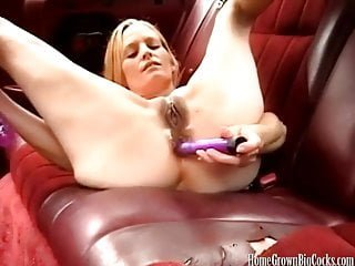 Big tit blonde masturbates then sucks a big dick
