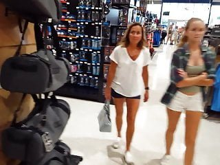 Candid voyeur hot blonde teen with mom shopping