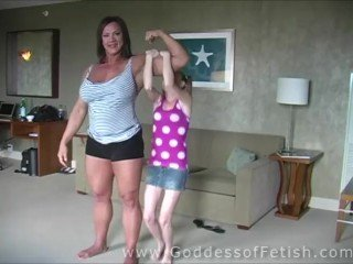 huge muscular woman vs tiny petite teen