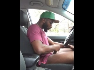 Car jerking in public and cumshot!